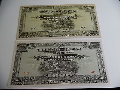 Malaya Military Currency (2) 1000 Dollar Notes M10 A&b Variety Uncirculated
