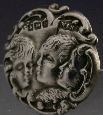 Beautiful Set Of 6 Art Nouveau English Sterling Silver Buttons 1900 Antique