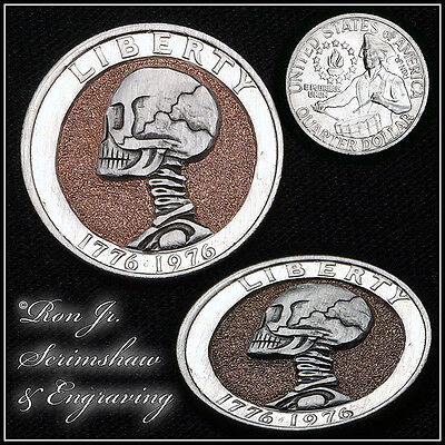 Bicentennial Skull Quarter Dollar Hobo Nickel Ron Jr. Scrimshaw & Engraving #9