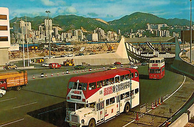 Hong Kong,China,Harbour Tunnel Looking From Kowloon,Double-Decker Buses,1979