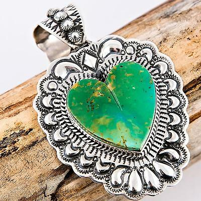 """XL DARRYL BECENTI  """"TAOS HEART"""" Green Turquoise Necklace Squash Blossom Pendant"""