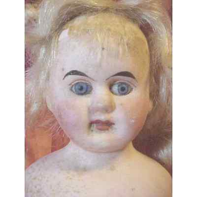 Antique Early 1900's Bisque & Leather Doll Glass eyes Estate item  Straight Legs