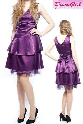 Purple Satin Dress Short Bridesmaid Dress Prom Formal Party Dress Size UK 14