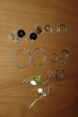 mixed lot of sterling silver earrings