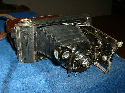 Antique Kodak Number 1 Folding Pocket Camera, Complete With Case