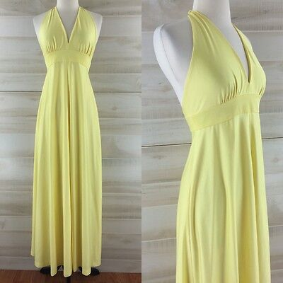 Vintage 70s long yellow empire halter maxi dress hippie boho chic S