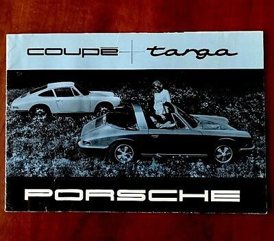1967 Blue Coupe + Targa Porsche Brochure Rare Sales Literature Early 911 912
