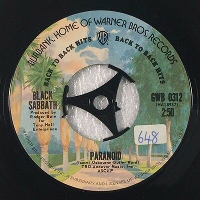 "BLACK SABBATH-Paranoid-7"" Vinyl Record Single 45rpm-GWB0312-1975"