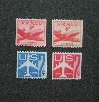 US Postage Stamps Mint NH AIR MAIL Scott C37 C41 C52 C61 Coils XF Centering