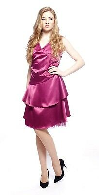 Ladies Fuchsia Evening Dress Pink Prom Party Dress Bridesmaid Dress UK Size 10