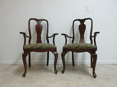 Pair of Ethan Allen Georgian Court Queen Anne Dining Room Arm Chairs Set C