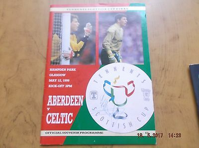 Tennents Scottish cup final  Aberdeen versus celtic 1990 signed