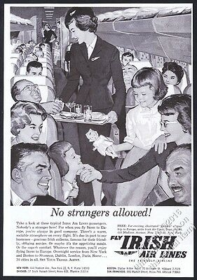1960 Aer Lingus stewardess on plane art Irish Air Lines vintage print ad