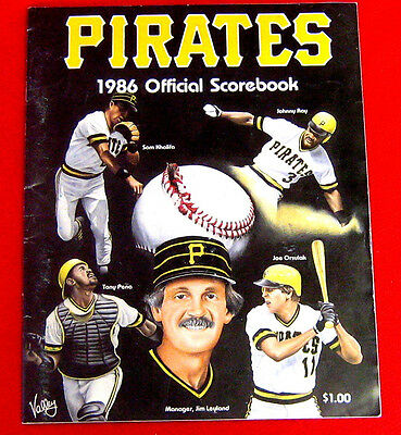 1986 Pittsburgh Pirates Atlanta Braves Scorebook c