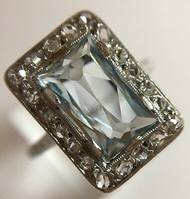 Antique Art Deco Platinum Aquamarine And Diamond Ring Band Pretty
