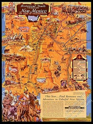 1940 New Mexico historical trails great color map vintage travel print ad