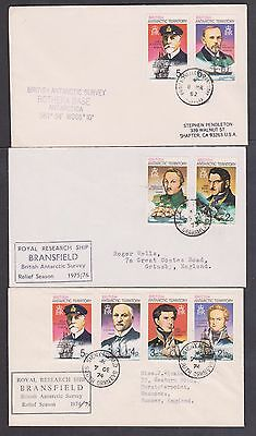 British Antarctic Territory Survey covers x 3 different cancel f/used condition.
