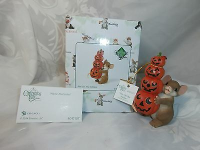 """Charming Tails Mouse With Jack-O-Lanterns Figurine """"pile On The Smiles"""" Enesco"""