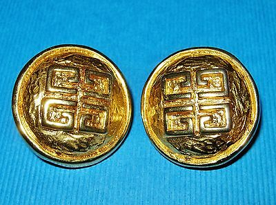 Vintage 1980's *iconic* Givenchy Signed Logo Gold Clip On Ons Statement Earrings