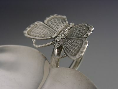Beautiful Flower & Butterfly Sterling Silver Wine Taster / Tastevin A E Jones