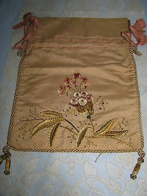 Antique Victorian Lingerie Bag Fancy Silk Embroidered Flowers Silk Corded Trim