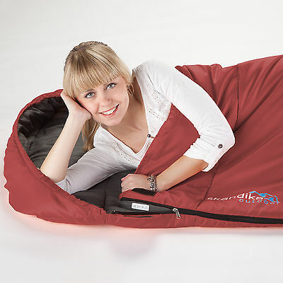 SKANDIKA VEGAS SLEEPING BAG XXL XTRA-WIDE POD STYLE 220x110cm RIGHT ZIP RED NEW