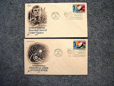1975 Peaceful Uses of Outer Space New York FDC Set - Singles - Art Craft Cachet