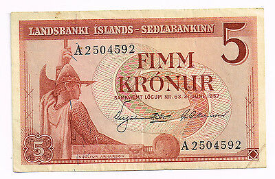 1957 ICELAND FIVE KRONUR NOTE - p37