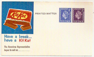 1969 ROWNTREE KIT-KAT ADVERTISING/STOCKLIST PC QE2 3d+1d STO MINT UNUSED
