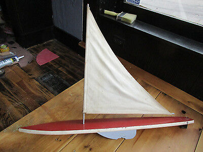 Vintage Large 32 1/2 Long Wood Pond Sail Boat Yacht (t)