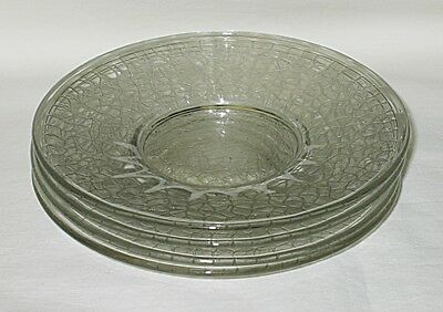 LE Smith By Cracky (Crackle) Pattern Clear Sherbet Underplate Set of 4