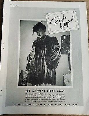 1939 Russeks original women's natural Fitch fur coat fashion ad