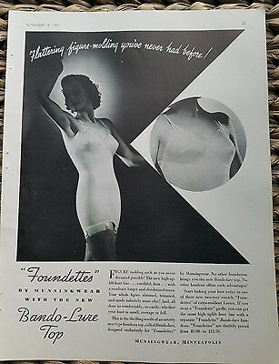 1937 women's Foundettes one piece girdle bra garters by munsingwear ad