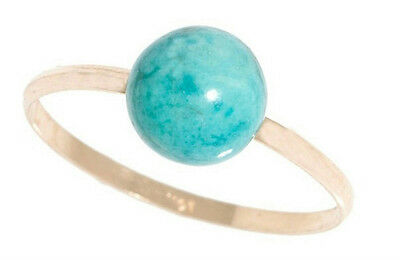 NEW 14K Gold Ring with Genuine Turquoise Gemstone Sz8 -READ