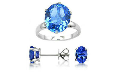 NEW 7.00 CTTW Genuine Tanzanite Ring & Earrings Jewelry Set (3-PC) Sz8 $300-READ