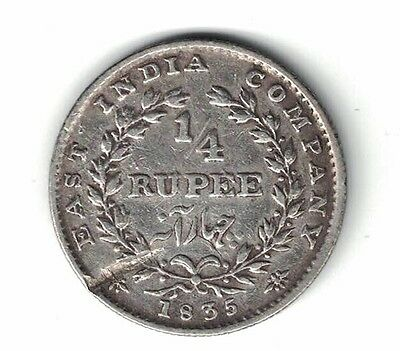 British India East India Company 1835 1/4 Rupee William Iv .917 Silver Coin