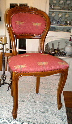Antique Style Carved Wood Chair w Woven Dragonfly Pattern Seat and Back
