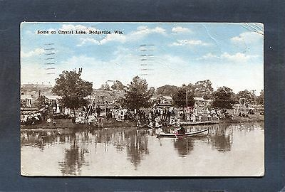 Dodgeville,WI-CRYSTAL LAKE Many @ Picnic w Tents,Swings,Boats Iowa County-Old PC