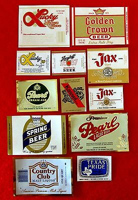 Lot of 12 Pearl Brewing Beer Bottle Labels Berghoff Jax Lucky Texas Pride gmc1