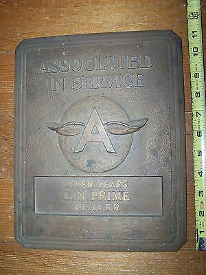 "FLYING A GASOLINE Service Dealer Vintage Bronze Dealer Recognition Plaque 12""X9"""