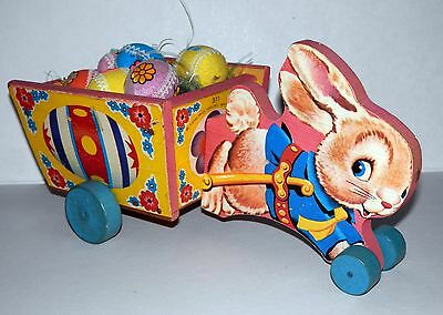 1958 Fisher Price Wooden Busy Bunny Cart Pull Toy #311 in Fantastic Condition