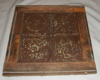Primitive Wood Shabby Chic Frame made from Tin Vintage Style Ceiling Tile FLORAL