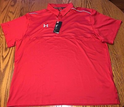 Nwt men 39 s under armour heatgear ultimate polo shirt red for Under armour 3xl polo shirts