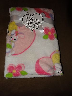 "Precious Moments Girl With Bunny Plush Fleece Baby Blanket-30""X40""-New"