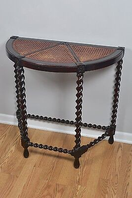 Antique Solid Wood Dark Barley Twist Cane Top Demilune Console Table Carved