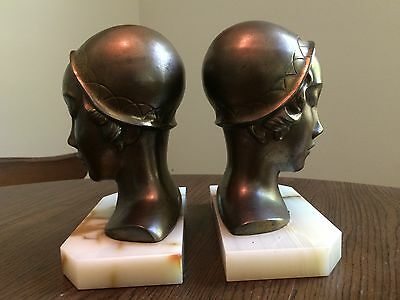 1920s Deco  Frankart Flapper Girl Cloche Hat Lady Bust Statuette Bookends