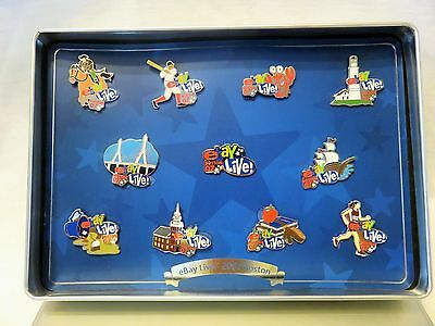 2007 Ebay Live Boston Set of Eleven Pins in Collector Box Personal Set From 2007