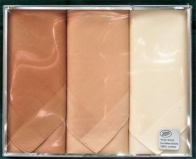 Boots - 3 Swiss Handkerchiefs - 100% Cotton - New, Boxed and Unsealed - Vintage