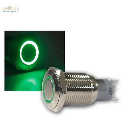 Press Button Metal, max. 230V/3A, Switch with LED lighting-ring Green