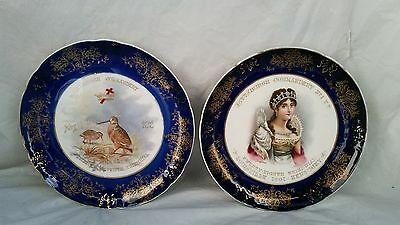 Two Antique Masons Masonic Very Early Porcelain Plates Freemasons Excellent 1901